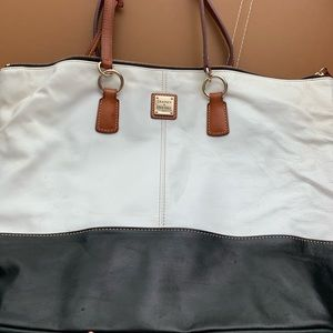 Large Black & White Leather Doonie & Bourke tote